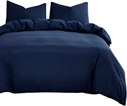 Navy Blue Quilt Cover Set - by Wake In Cloud, 1000TC Ultra Soft Microfiber Doona Cover Bedding Set in Solid Plain Color (3...