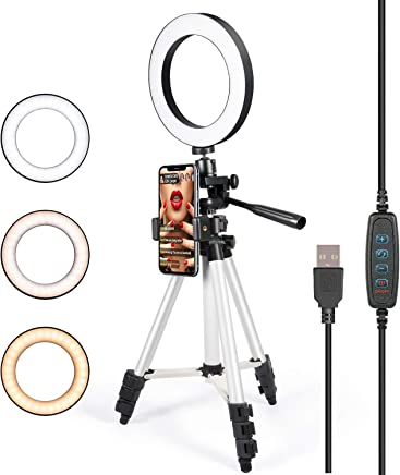 GLCON Selfie Ring Light with Tripod Stand for Live Stream-LED Ring Light with Phone Holder for iPhone Samsung Android-Dimmable Makeup Light with 3 Light Mode,10 Level Brightness for YouTube(Silver)