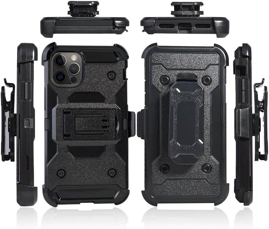 Cocomii Military Belt Clip Holster iPhone 12 Pro Max Case, Slim Thin Matte Kickstand Swivel Belt Clip Holster Drop Protection Bumper Cover Compatible with Apple iPhone 12 Pro Max 6.7
