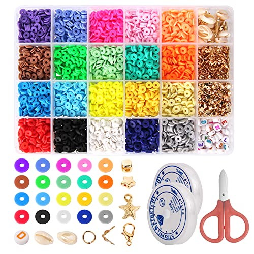 4800 Pcs Clay Beads for Jewelry Marking, 20 Colors Flat Round Polymer Heishi...