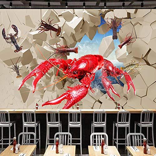 Cartel creativo 3d langosta pared rota papel tapiz de pared frutas del mar cocina caliente restaurante cocina foto pintura-325cm W x 215cm H(127.9×84.6inch)