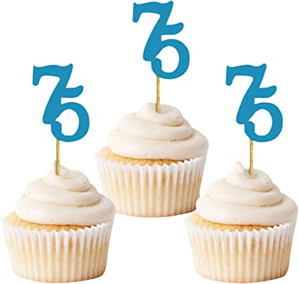 Darling Souvenir Glitter Custom Day Number Cupcake Toppers, Birthday/Retirement Party Dessert Decorations - Pack of 40