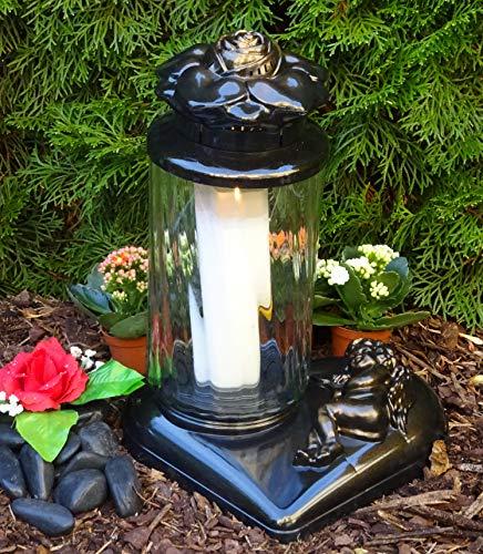 ♥ Grablaterne Grablampe mit Herz Sockel Rose und Engel 36,0cm incl.Grabkerze Grablaterne Grableuchte Grablicht Laterne Kerze Licht Lampe Schutzengel Herz Trauer