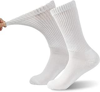 Non- Binding Diabetic Socks, FOOTPLUS Unisex Circulatory Ankle/Crew Socks 2/4/6 Pairs
