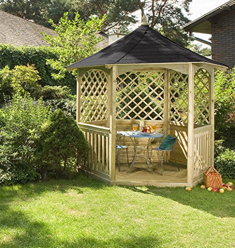 Wooden Hexagonal Gazebo with Floor, Side Trellis, Balustrade and Felt Tiled Roof (h295 x 240 x 208 cm)