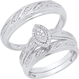 0.12 Carat (ctw) Round White Diamond Men's & Women's Engagement Ring Trio Set, Sterling Silver