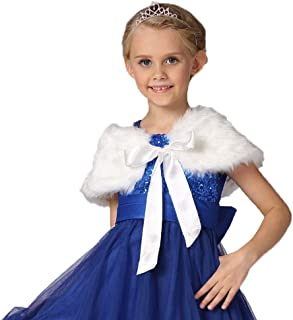 Flower Girls Faux Fur Shoulder Cape Winter Warm Party Wedding Wraps Capelets Clothes