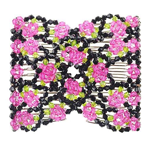 Magic Perlen Doppel Damen/Damen Haarspange Dehnbar Haar Kämme Haarspangen - Style3 Rosa, Style3 Rosa