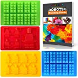 Best Candy Molds & Ice Cube Mold for Building Blocks and Robots with Bonus Recipe eBook by Americas Best Buys (4-Pack)