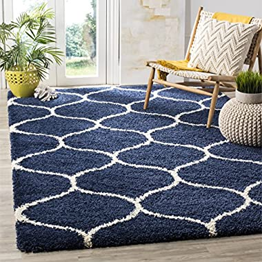 Safavieh Hudson Shag Collection SGH280C Navy and Ivory Moroccan Ogee Plush Area Rug (9' x 12')