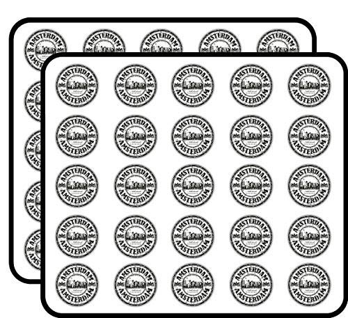 Amsterdam Nederland Grunge Rubber Stempel Vinyl Stickers Grappig Leuke voor Kids DIY Crafts, Scrapbooking, Laptop, Bumper Auto Stickers, Stickers voor Kinderen, 50 Pack