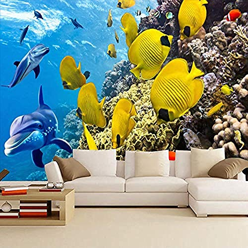 3D Wallpapers Underwater World Restaurant Wandbild Ocean Kinderzimmer Schlafzimmer Wallpaper Dolphin Swimming Pool Wanddekoration fototapete 3d Tapete effekt Vlies wandbild Schlafzimmer-350cm×256cm
