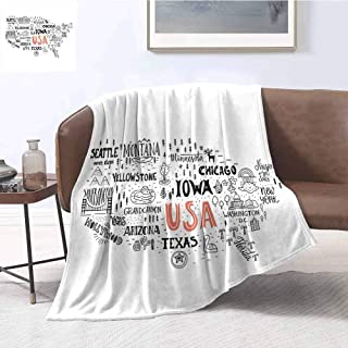 Luoiaax USA Map Children's Blanket United States of America City Typography Pattern with Local Figures Concept Lightweight Soft Warm and Comfortable W60 x L70 Inch Grey Coral White