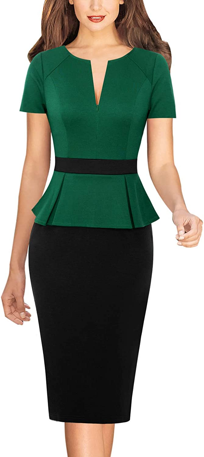 Vfshow Womens Front Zipper Work Office Business Cocktail Party Bodycon Pencil Dress