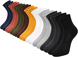 Empino 綿ソックス、ミディアムロングクラッシク無地レジャーソックス、薄型森ガールスクールクラシックコーディネートクシュクシュソックス、春夏冬、9色入り、21-25cm