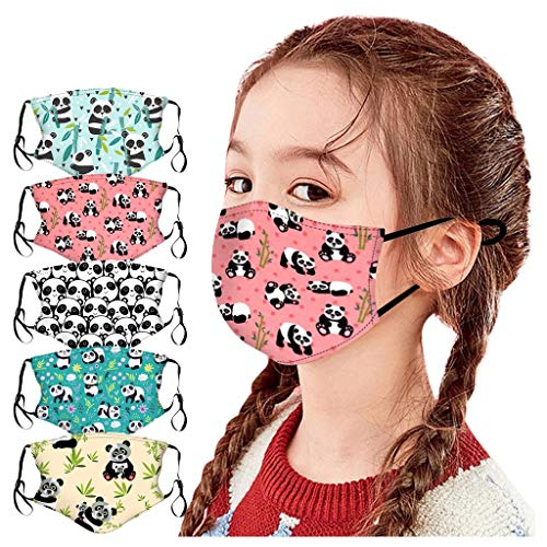 LULUZ 5 Stück Kinder Mundschutz Multifunktionstuch Animal Print Maske Waschbar Baumwolle Stoffmaske Atmungsaktiv Mund-Nasen Bedeckung Waschbär Panda Tiermotiv Halstuch Schals Jungen Mädchen