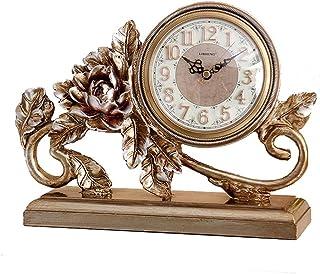卓上時計ファミリークロックミュート置時計寝室のベッドサイド置時計バッテリ駆動(ゴールド)リビングルームのベッドルームに最適