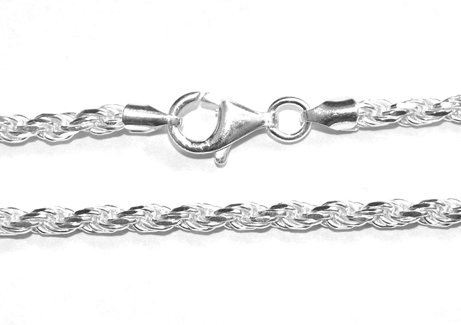 MARKYLIS  REAL SOLID 925 STERLING SILVER CHUNKY ROPE CHAIN NECKLACE  3mm  34inch   34