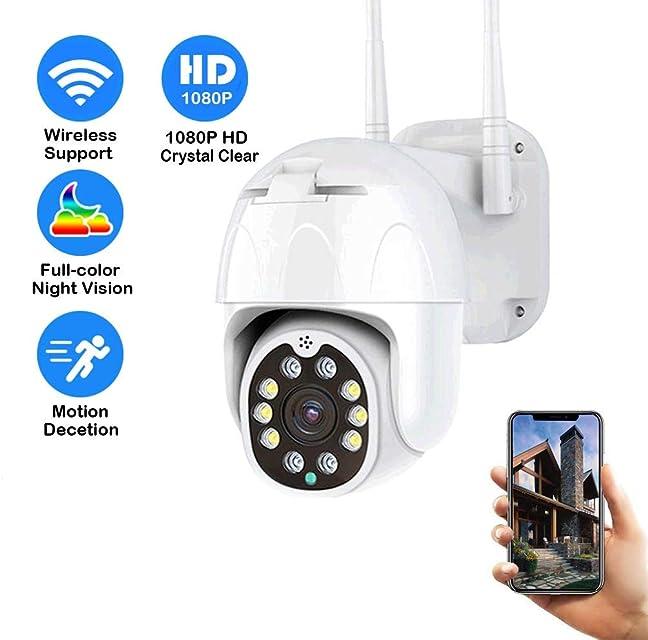 Cámara IP Exterior Cámara de Vigilancia 1080P PTZ Cámara IP66 Impermeable Seguridad Inalámbrica Cámara IR Vision Nocturna Detección de Movimiento Audio Bidireccional