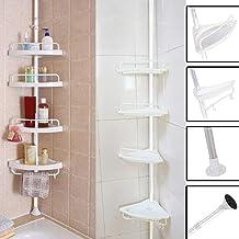 $25 » Beyonds 4 Tier Adjustable Bathroom Shelf Rack - Adjustable Stainless Telescopic Shower Corner Heavy Duty Bathroom Shelf Unit Organizer Storage Shelf