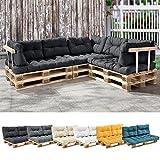 [en.casa] 1x Sitzkissen für Euro-Paletten-Sofa Dunkelgrau Palettenkissen Auflage In/Outdoor Polster Möbel