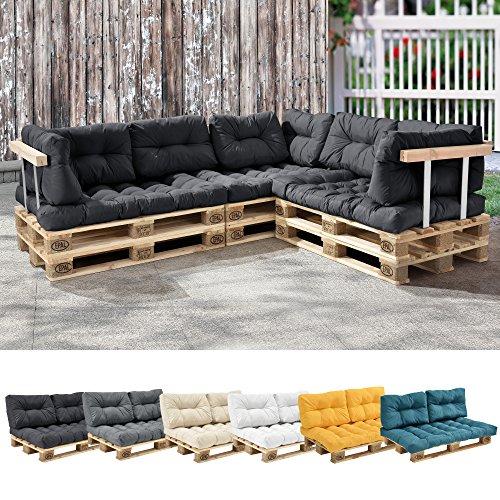 [en.casa] 1x Coussin de siège pour canapé d'euro Palette [Gris foncé] Coussins de palettes in/Outdoor Rembourrage Meuble