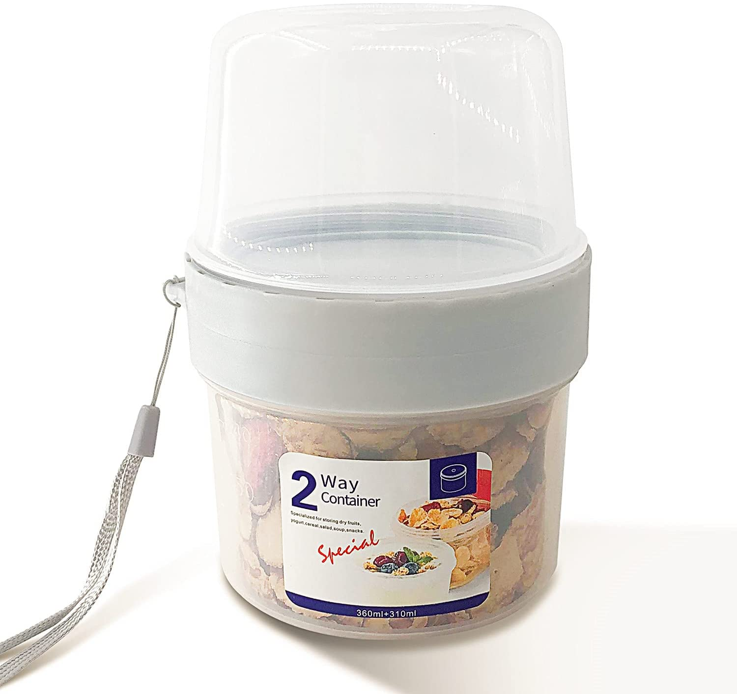 HeNai PETWEKAN Breakfast On The Go Cups,Yogurt Portable Cups Large Capacity Sealed Double Layer Food Container With Cereal Oatmeal or Fruit Container (310ml+360ml)