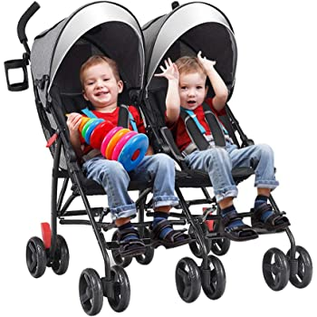 C-CHAIN Ultra-Lightweight Double Stroller - Side by Side Umbrella Stroller, Foldable Twin Infant Toddler Stroller with 5-Point Harness, Adjustable Sun Canopy for Baby Toddlers (Grey)