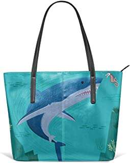The Shark And The Seahorse Leather Tote Large Purse Shoulder Bag Portable Storage HandBags Convenient Shoppers Tote
