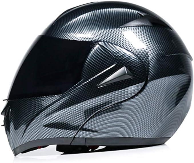 Fefck Motorradhelm Integralhelm Klapphelm Schlagfestigkeit Motorrad Helm Carbon Double Lens Adult Atmungsaktiv Sport Freizeit