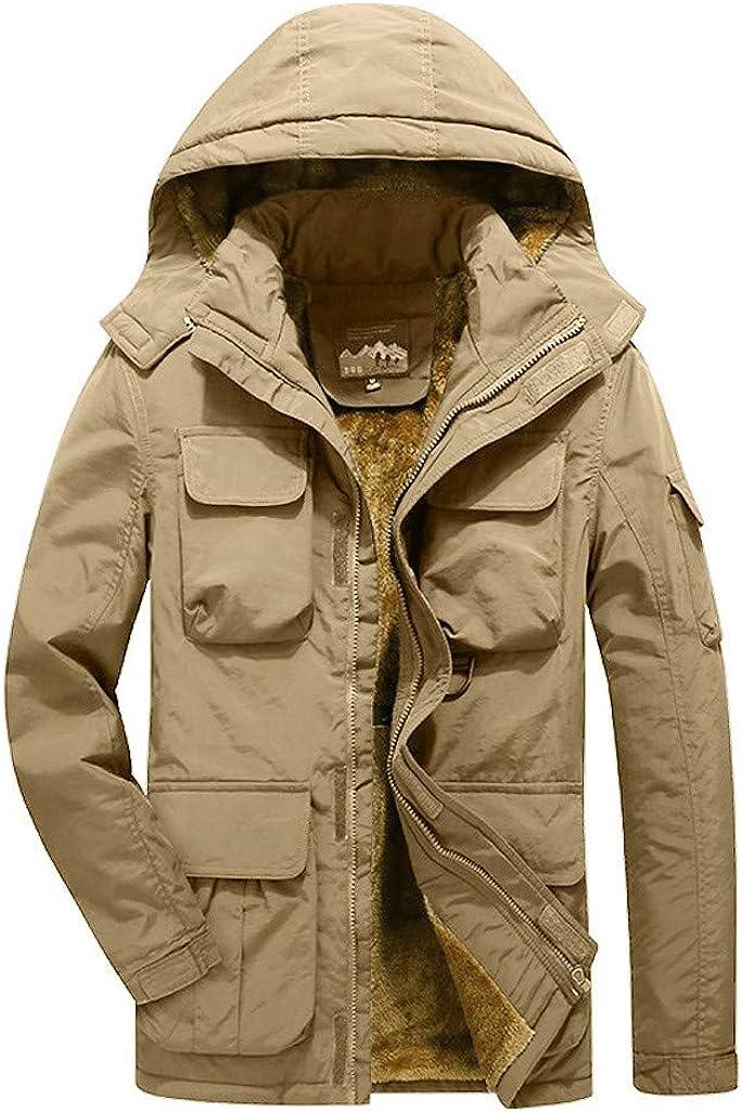 Men's Coat with Hood Windproof Warm Winter Outdoor Outwear Windproof Zipper Jacket