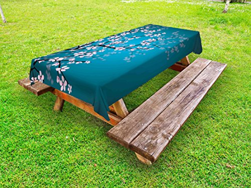 Ambesonne Japanese Outdoor Tablecloth, Spring Season Sakura Bloom Design with Blue Toned Ombre Background, Decorative Washable Picnic Table Cloth, 58' X 84', Blue Pink