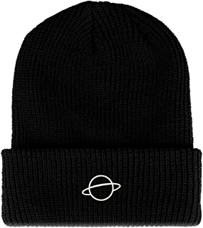 Trendy Apparel Shop Planet Embroidered Ribbed Cuffed Knit Beanie