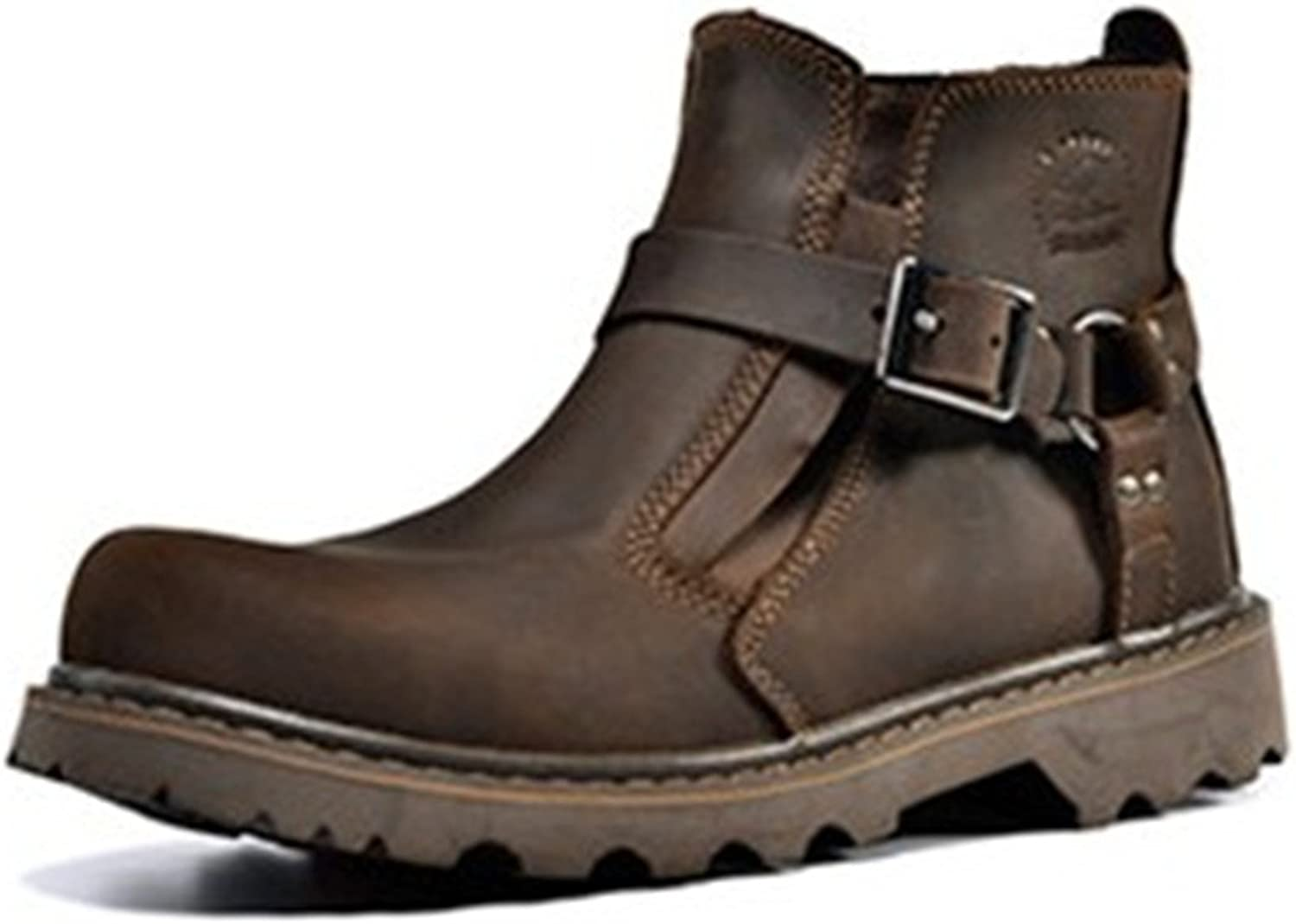 BININBOX Men's Leather shoes Retro Hasp Engineer Boots Working Martin Boots