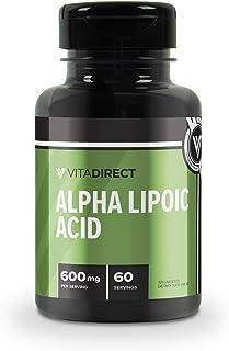 VitaDirect Premium Alpha Lipoic Acid Capsules 600mg, 120 Capsules - 60 Servings