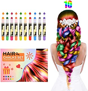 Kids Hair Chalk Pens, 10 Colors Temporary Washable Hair Dye Safe - for Party, Girls Gift, Kids Toy, Birthday Cosplay and All Festivals