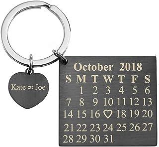1ca8ba5361 Personalized Master Free Engraving Custom Date Calendar Heart Keychain,  Custom Date Pendant Key Ring Lovers