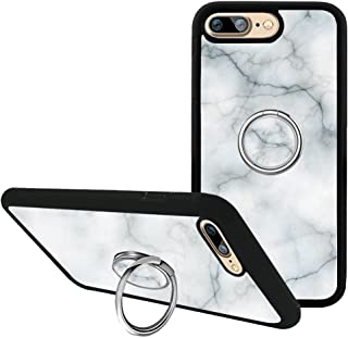 White Marble iPhone 7 Plus Case, iPhone 8 Plus Case with Kickstand, Customized Fashion 360 Degree Rotating Ring Holder Grip Bumper Silicone Case Cover for iPhone 7 Plus/8 Plus 5.5 inch