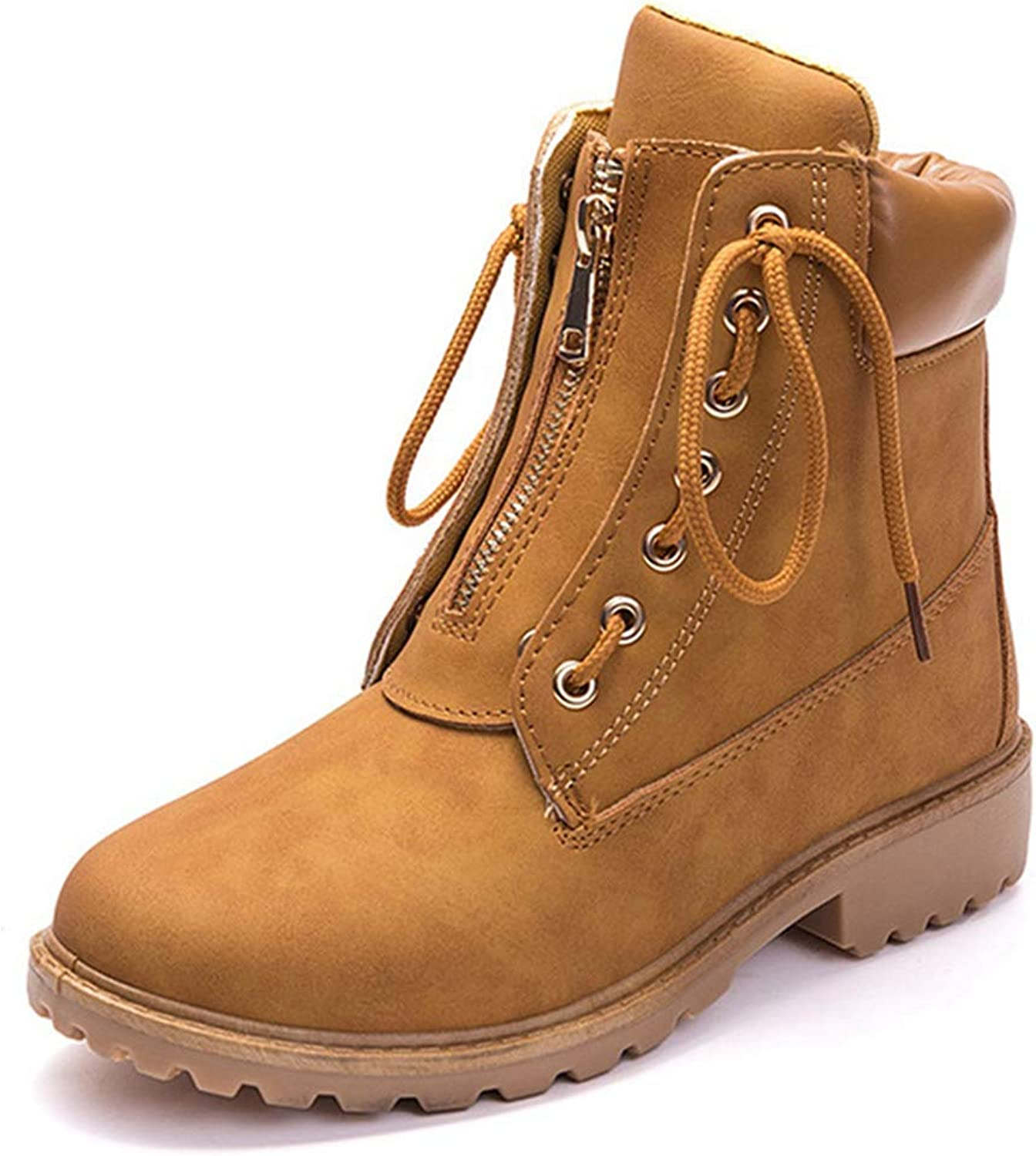 Hoxekle Ankle Boot Low Heel Top Zipper Lace Up Women Short Plush Snow Outdoor Casual Hiking Boots