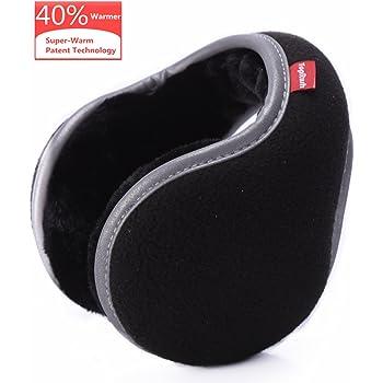 Black Mraw Unisex Woolen Yarn Plaid Foldable//Adjustable Wrap around Earmuffs