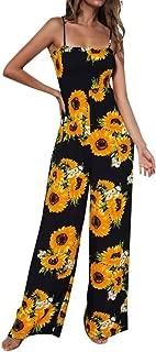 CUCUHAM Women Sunflower Dot Print Jumpsuit Sleeveless Clubwear Wide Leg Pant Spot Outfit