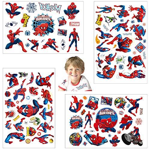 Temporäre Tattoo Set Kinder Tattoos für Spider Man,4 Blätter Superheros Kindertattoos Aufkleber Stickers für Geschenktüten Kindergeburtstag Mitgebsel Mädchen Jungen