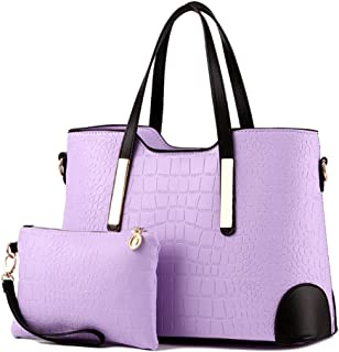 PU leather women top handle satchel handbags tote purse Crocodile handbag