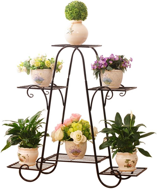 Flower Racks- Flower Pot Rack 4-Tiered Scroll Classic Plant Stand Metal Garden Patio Standing Plant Display Shelf (color   Black-81.5cm26cm82.5cm)