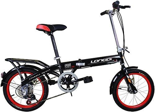RENJUN Vélo Pliant pour Enfant Vélo pour Enfant de 16 Pouces Vélos-bicyclettes 4-7 à ChangeHommest d'année Cadre en Acier à Haute teneur en voiturebone, Noir Rose Bleu Vert Vélo d'enfant