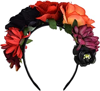 June Bloomy Day of The Dead Headpiece Frida Costume Mexican Floral Crown Rose Headband