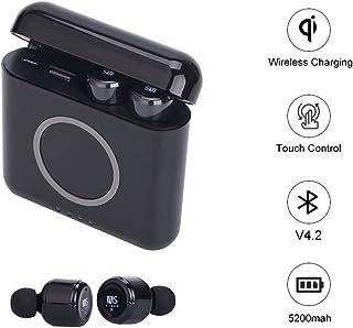 Zagzog ワイヤレス Bluetooth イヤホン タッチコントロール ノイズキャンセリング エクササイズ インナーイヤー コードレス アウトドア ヘッドフォン 内蔵マイク イヤホン ヘッドセット パワーバンクと5200mAh 充電ケース iOS Android Android 用 ブラック