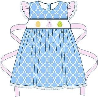 Girls Easter Dress Blue Quatrefoil Smocked Bunny & Eggs