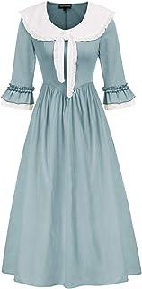 Women's Colonial Pioneer Costumes Retro Pastoral Pilgrim Historical Dress Blue US 10