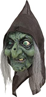 Scary Green Old Hag Witch Woman Costume Mask with Hair and Hood for Halloween Party